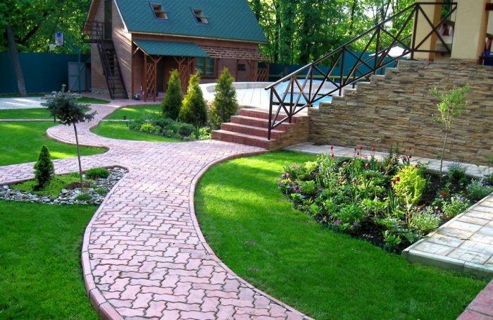 Обустройство двора частного дома (14)