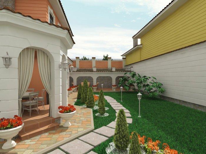 Обустройство двора частного дома (15)