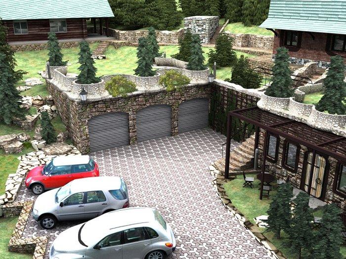 Обустройство двора частного дома (16)