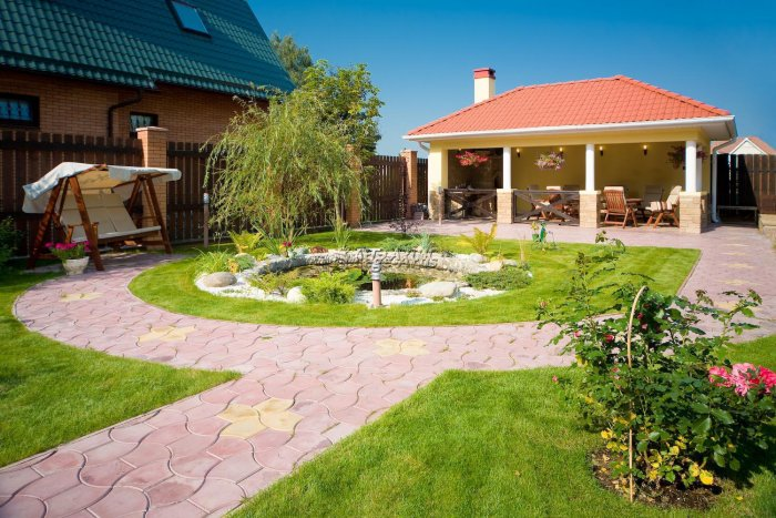 Обустройство двора частного дома (37)