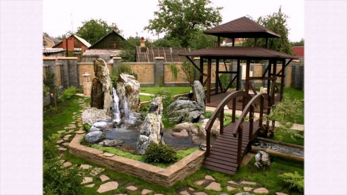 Обустройство двора частного дома (51)