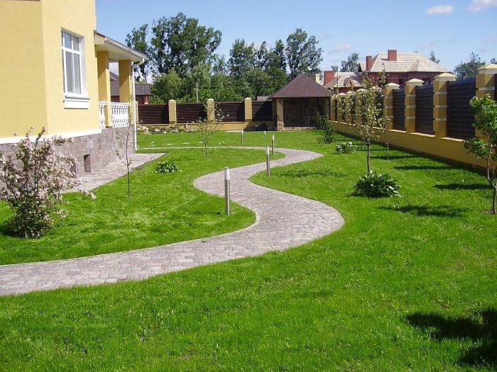 Обустройство двора частного дома (58)