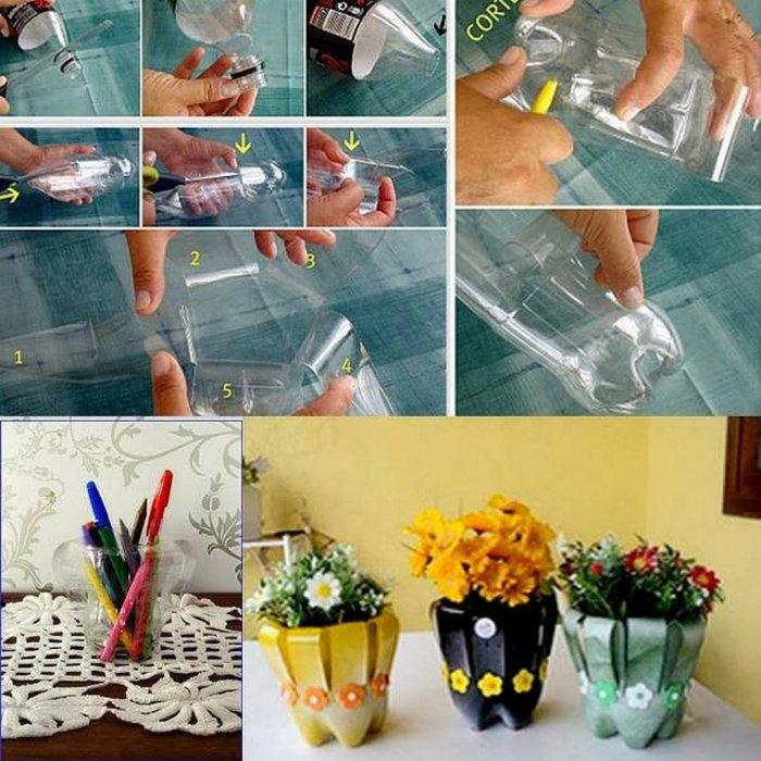 Поделки из пластиковых бутылок для дома и дачи (19)