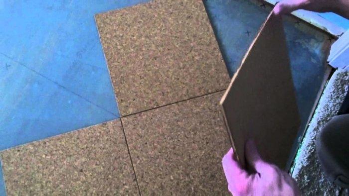 Укладка пробкового пола на клей