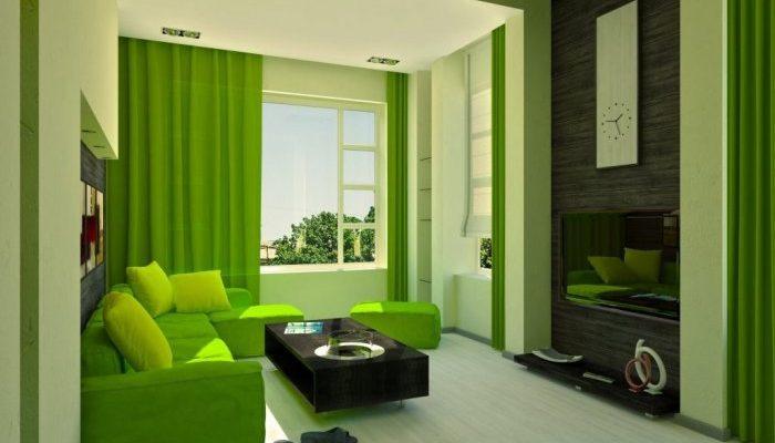 гостиная в зелено цвете