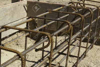 14251596 rebar and forms tied for concrete in construction in daylight