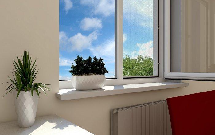 okno interer podokonnik